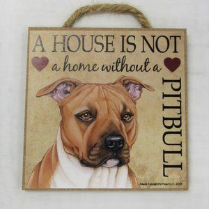 Pitbull Wood Sign Descorativ Plaque Pit Bull Dog